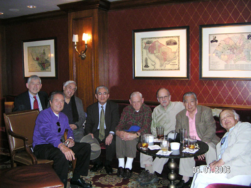 "Group photo of attendees of the East Coast Reunion in D.C. on 5/1/06: From the left - Al Yamada '57, Charles Houghton '52, Jack Nakano '51, Kunio Kikuchi '60, Charles ""Tako"" Mashkoftseff '52, Julio Rangel '52, George de Couto '52, and Arthur Sato '53. Other attendees in D.C. - Kristine Yamada, Charles Stevenson '65 & Tom Duffy '66. Photo submitted by Charles Houghton."